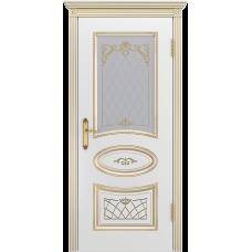 Ульяновская дверь Багет-3 белая эмаль патина золото ДО