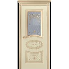 Ульяновская дверь Багет-3 корона эмаль слоновая кость патина золото ДО