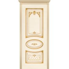 Ульяновская дверь Багет-3 эмаль слоновая кость патина золото ДГ