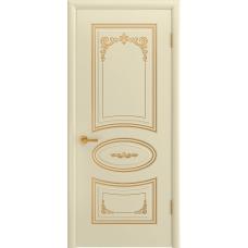 Ульяновская дверь Багет-3С эмаль слоновая кость патина золото ДГ