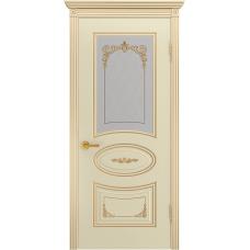 Ульяновская дверь Багет-3С эмаль слоновая кость патина золото ДО