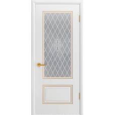 Ульяновская дверь Британия-1С белая эмаль патина золото ДО