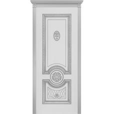 Ульяновская дверь Гамма белая эмаль патина серебро ДГ