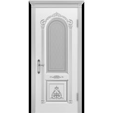 Ульяновская дверь Ода-1 белая эмаль патина серебро ДО
