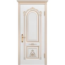 Ульяновская дверь Ода-1 белая эмаль патина золото ДГ
