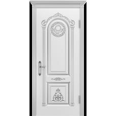 Ульяновская дверь Ода-3 белая эмаль патина серебро ДГ