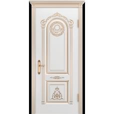 Ульяновская дверь Ода-3 белая эмаль патина золото ДГ
