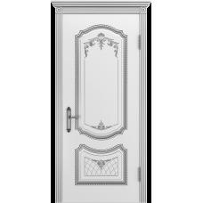 Ульяновская дверь Премьера-3 белая эмаль патина серебро ДГ