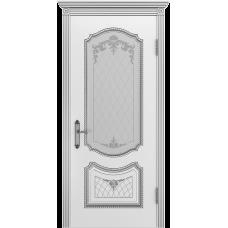 Ульяновская дверь Премьера-3 белая эмаль патина серебро ДО