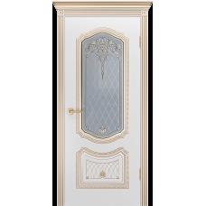 Ульяновская дверь Премьера-3 корона белая эмаль патина золото ДО