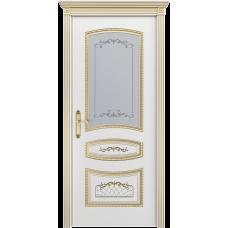Ульяновская дверь Соната белая эмаль патина золото ДО