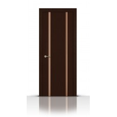 Дверь СитиДорс модель Циркон-2 цвет Венге триплекс белый