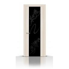 Дверь СитиДорс модель Бриллиант цвет Белёный дуб триплекс чёрный