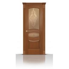 Дверь СитиДорс модель Гелиодор цвет Американский орех стекло Кружево