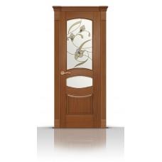 Дверь СитиДорс модель Гелиодор цвет Американский орех стекло Лирика