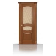 Дверь СитиДорс модель Гелиодор цвет Американский орех стекло Ромб