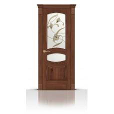 Дверь СитиДорс модель Гелиодор цвет Дуб миндаль стекло Лирика