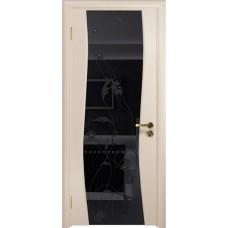 Дверь DioDoor Грация-3 беленый дуб черный триплекс Вьюнок глянцевый
