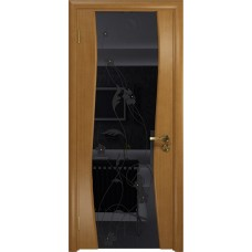 Дверь DioDoor Грация-3 анегри черный триплекс Вьюнок глянцевый
