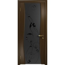 Дверь DioDoor Грация-3 венге черный триплекс Вьюнок матовый