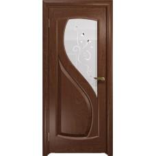 Дверь DioDoor Диона-1 красное дерево белое пескоструйное Лилия