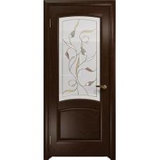 Дверь DioDoor Ровере красное дерево белое витраж Ангел
