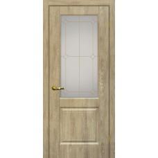 Дверь МариаМ Версаль-1 Дуб песочный стекло контур золото