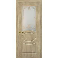 Дверь МариаМ Сиена-1 Дуб песочный стекло контур золото
