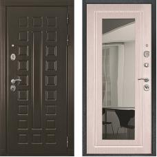 Входная дверь Престиж венге зеркало белёный дуб